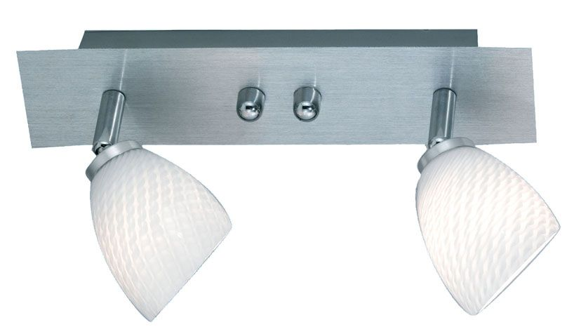 Terry 2 Light Track Fixture Chrome Glass with White Glass