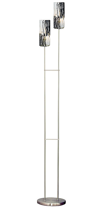 Togo 2 Light Floor Lamp Matte Nickel Glass with Black, White and Clear Glass