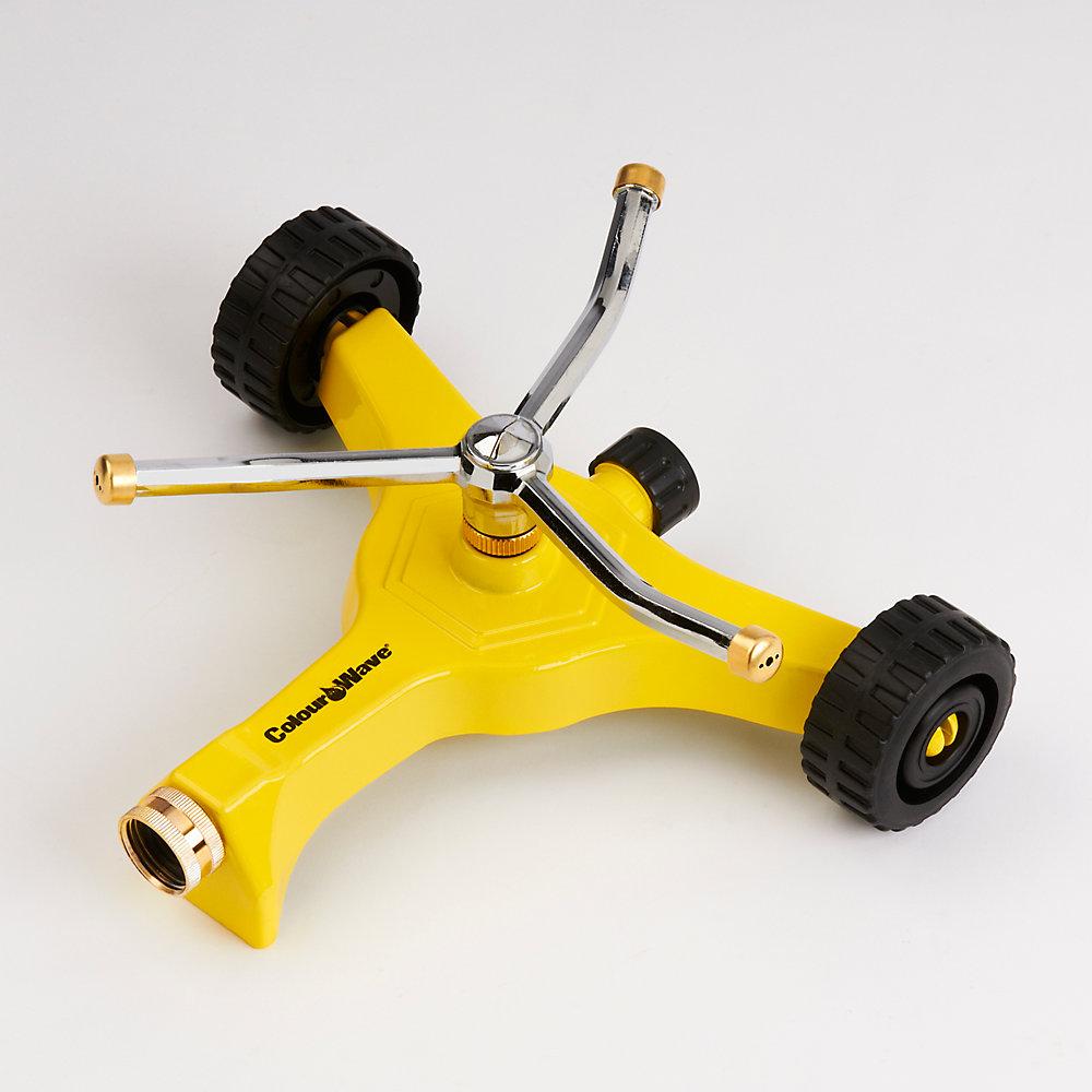 Arroseur  pivotant avec base sur roues (jaune)