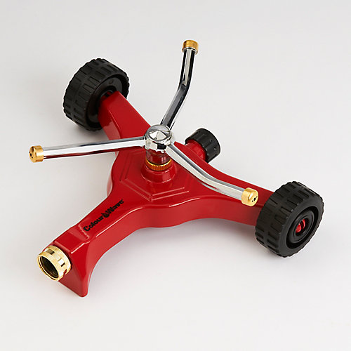 Wheeled Base Revolving Sprinkler in Red