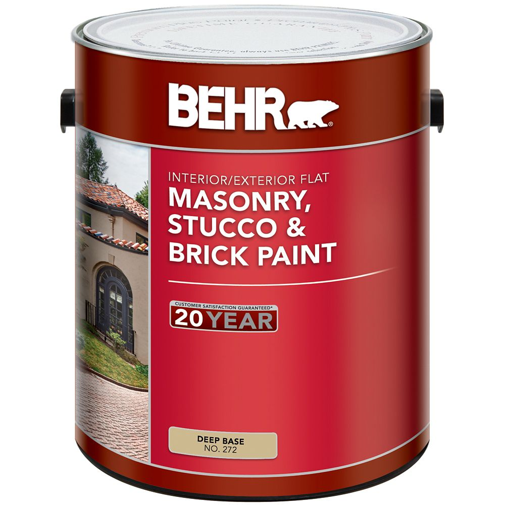 BEHR Masonry, Stucco & Brick Paint Flat, Deep Base, No. 272, 3.43 L