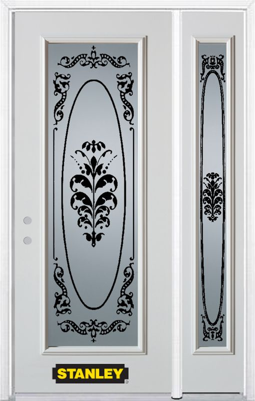 50-inch x 82-inch Renoir Full Lite White Steel Entry Door with Sidelite and Brickmould