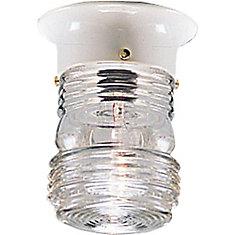 White 1-light Outdoor Flushmount