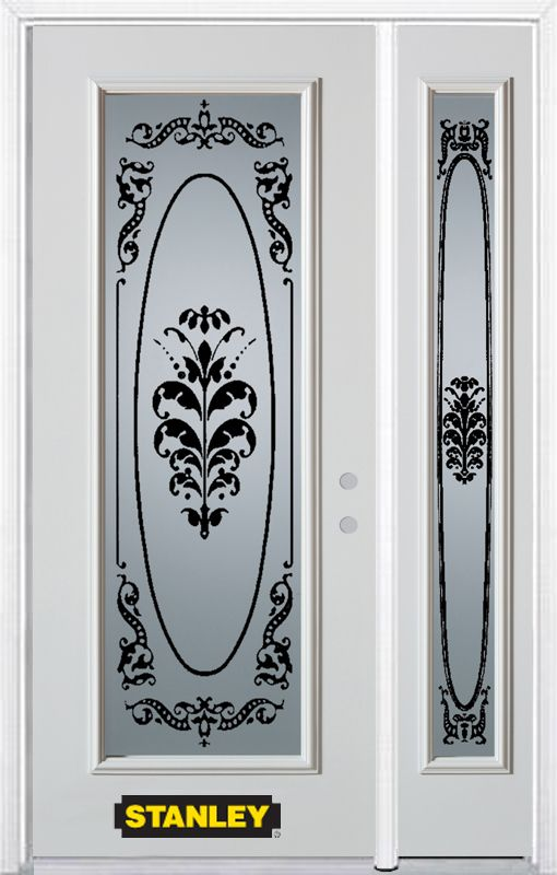 52-inch x 82-inch Renoir Full Lite White Steel Entry Door with Sidelite and Brickmould