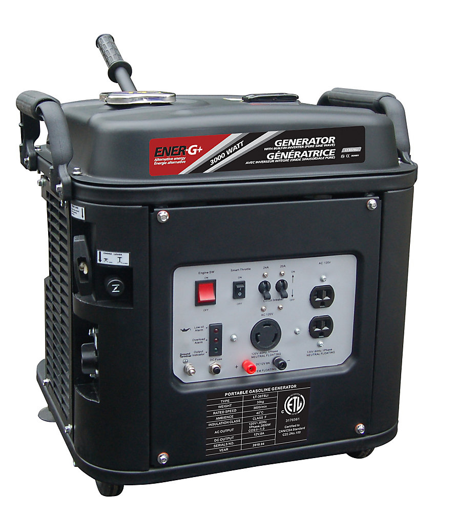 Ener-G+ Generator LT3075Li, four stroke smooth running OHV gasoline engine with built-in invertor