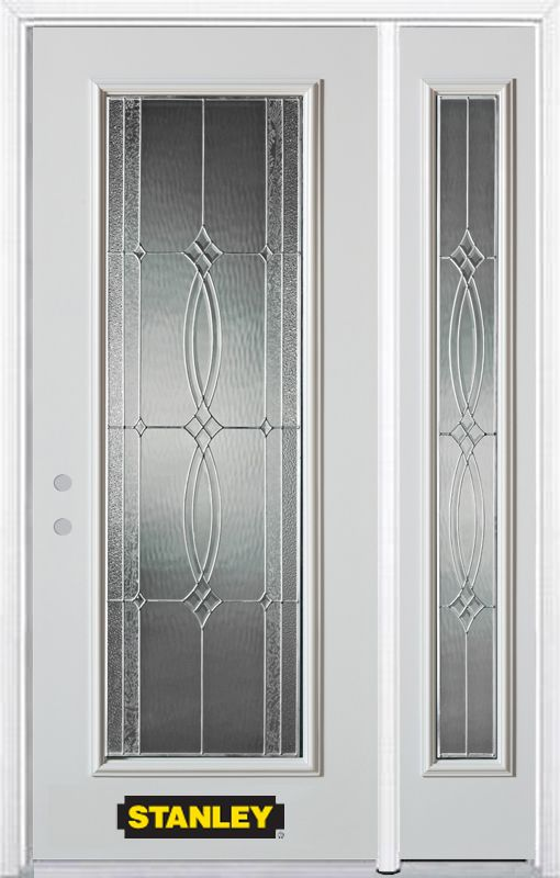 48-inch x 82-inch Diamanti Classic Full Lite White Steel Entry Door with Sidelite and Brickmould