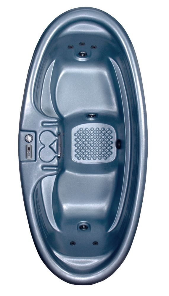 St. Augustine 2-Person 8-Jet Plug and Play Spa with Polar Insulation in Blue Denim