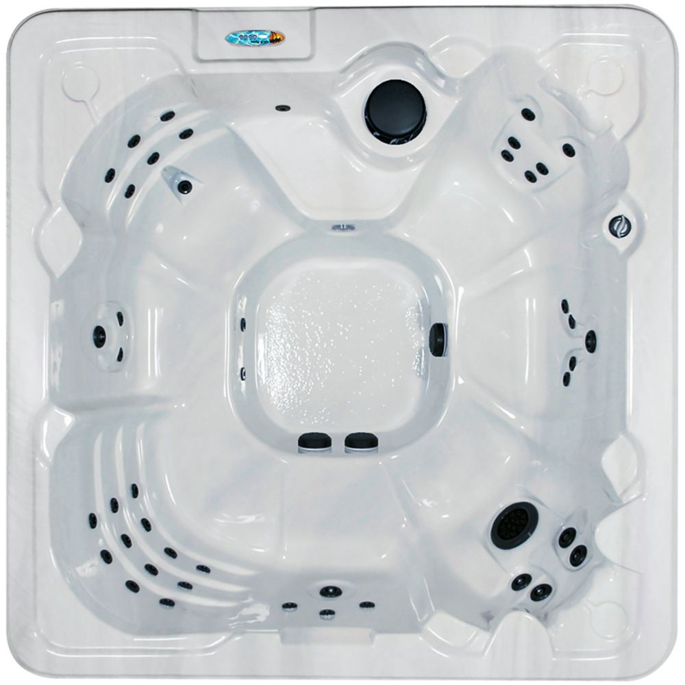Cape Coral 8-Person 60-Jet Spa with Polar Insulation in Silver Marble