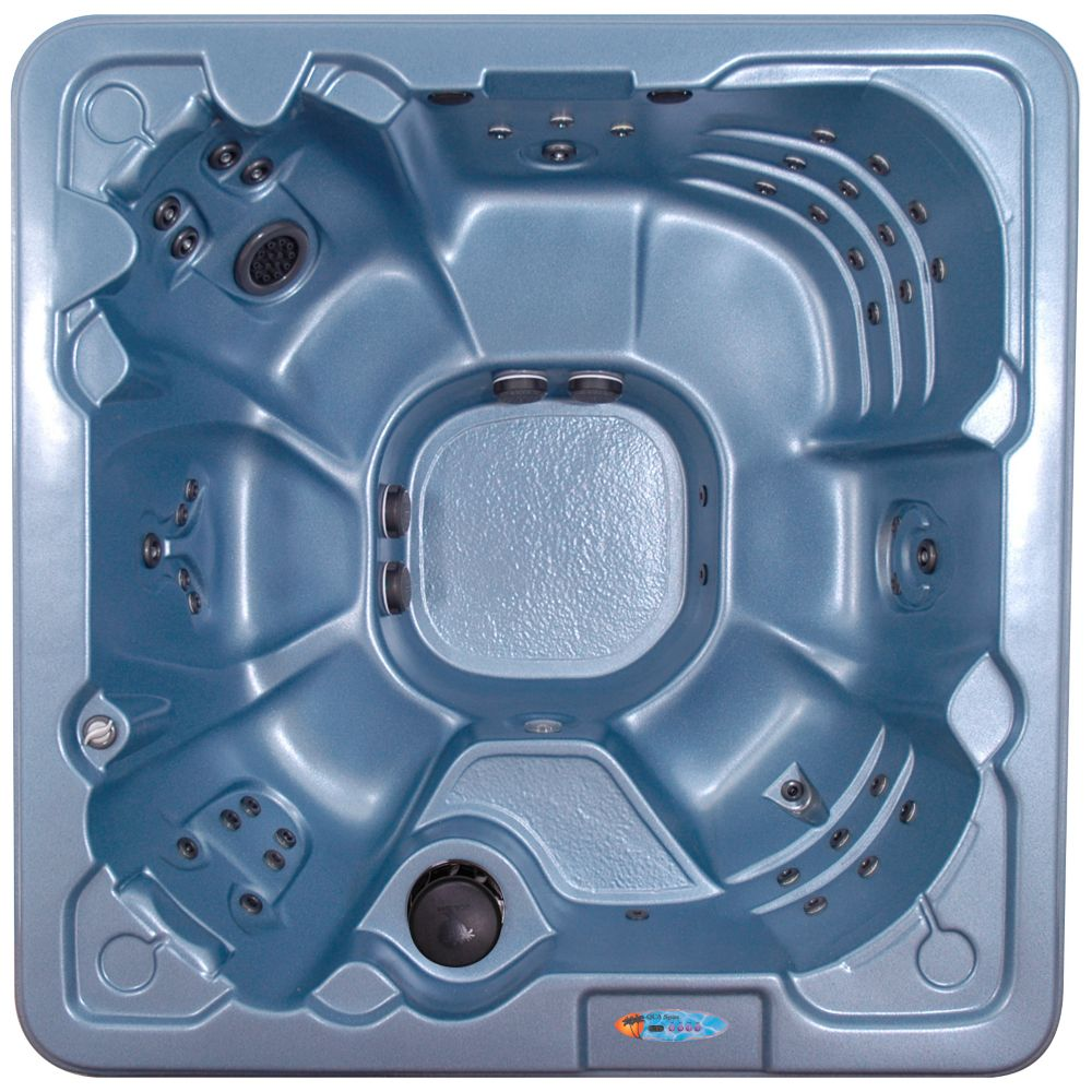 Cape Coral 8-Person 60-Jet Spa with Turbo Massager and Polar Insulation in Blue Denim