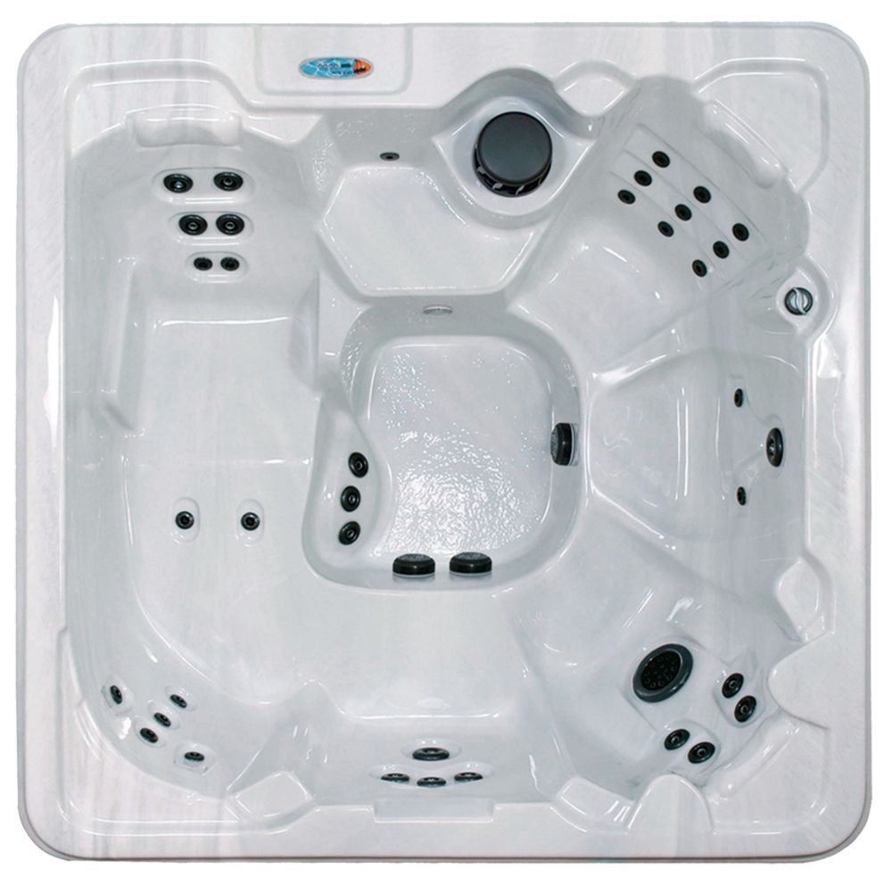 Pompano Beach 7-Person 53-Jet Spa with Polar Insulation in Silver Marble