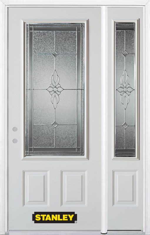 52-inch x 82-inch Victoria 3/4-Lite 2-Panel White Steel Entry Door with Sidelite and Brickmould