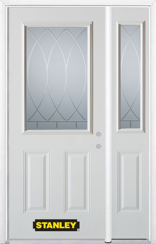 52-inch x 82-inch Bourgogne 1/2-Lite 2-Panel White Steel Entry Door with Sidelite and Brickmould