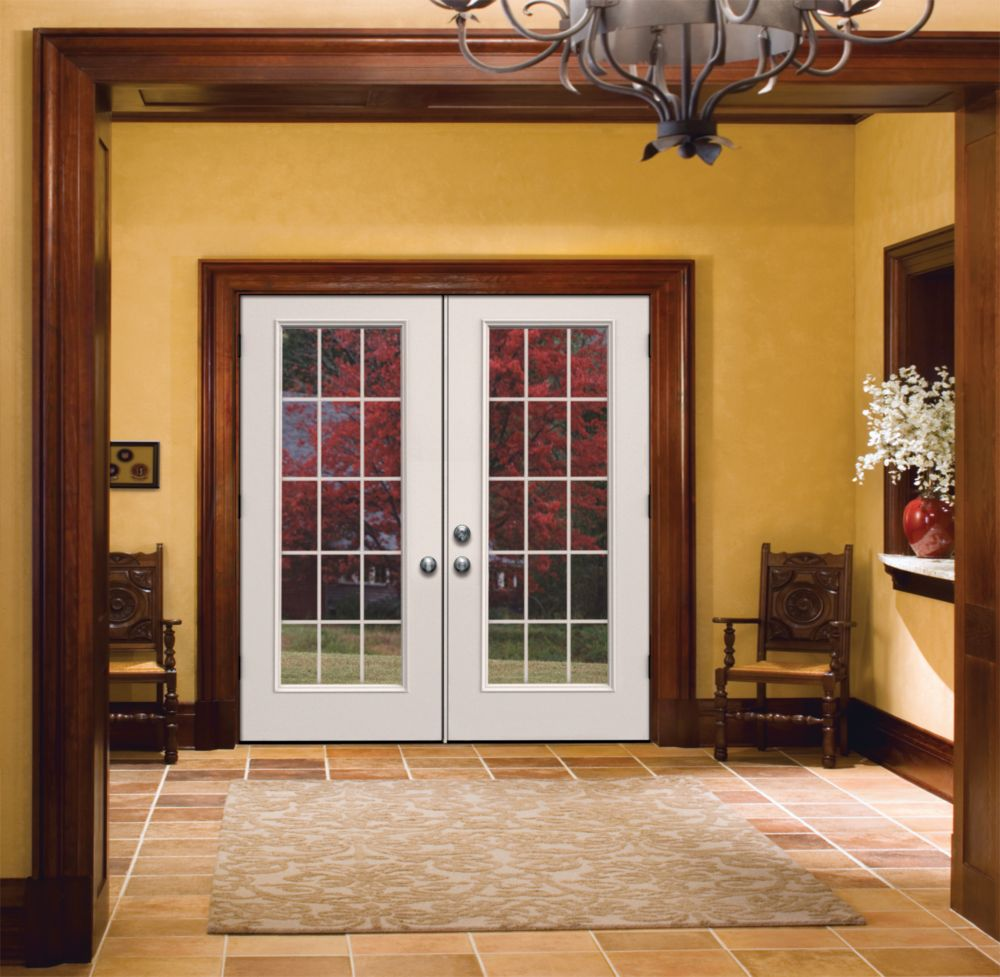 Double sliding patio door prairie style internal grill for Five foot french doors