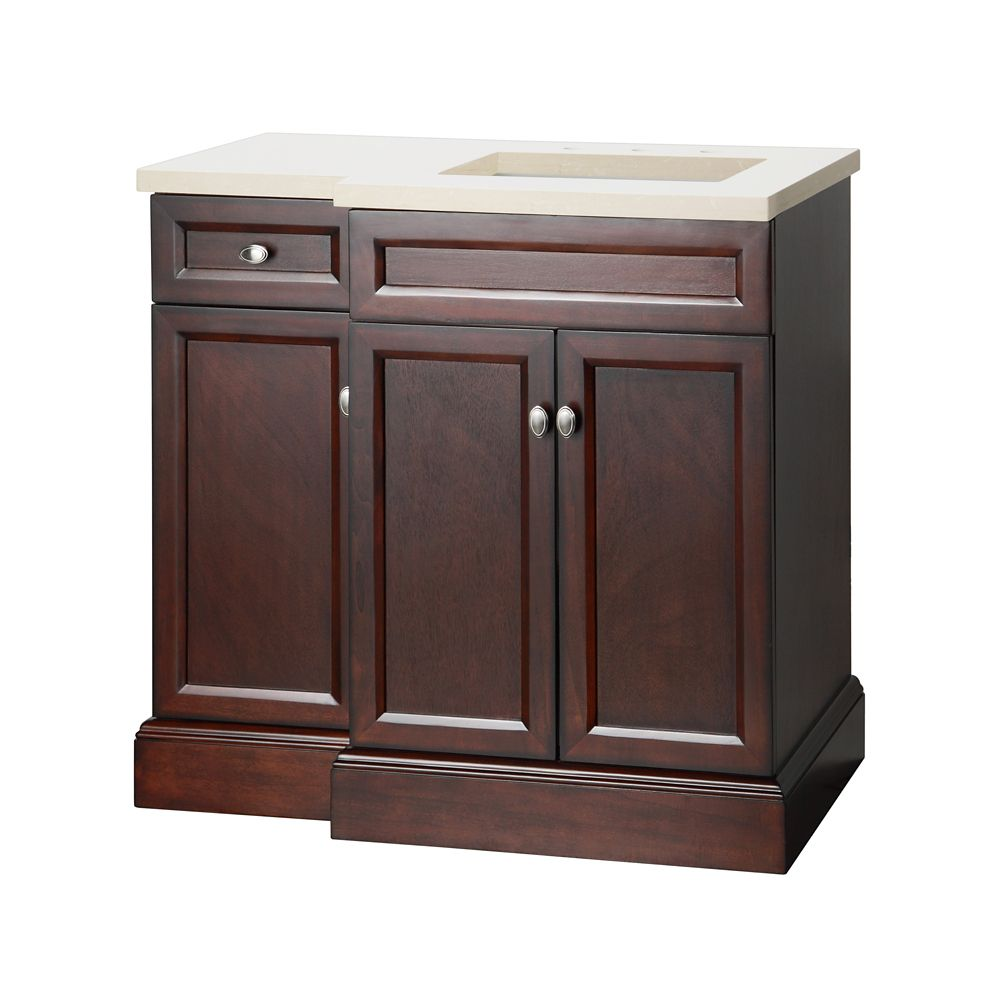 Foremost International Teagen 36-inch W Vanity Combo in Espresso Finish with Left Drawer