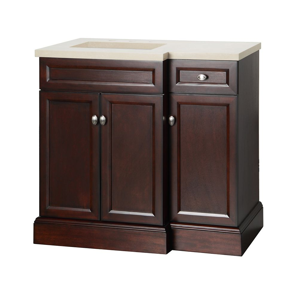 foremost international teagen 36 inch vanity combo with right drawer