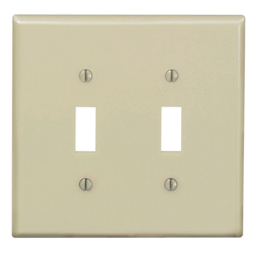 2-Gang Midway Nylon Toggle Switch Wallplate, in Ivory