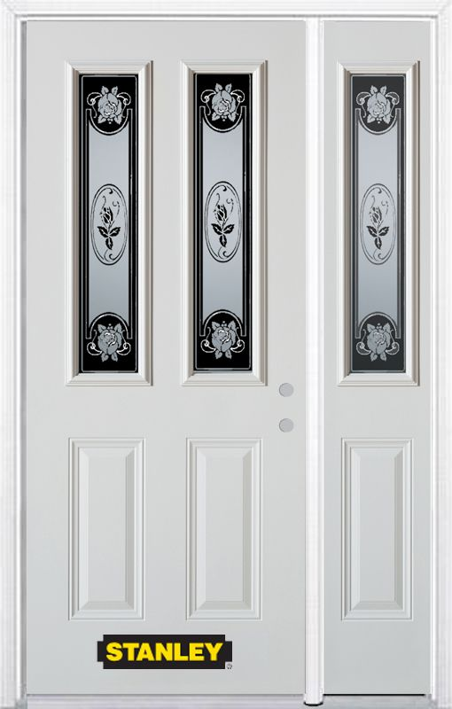 50-inch x 82-inch Mâtisse 2-Lite 2-Panel White Steel Entry Door with Sidelite and Brickmould