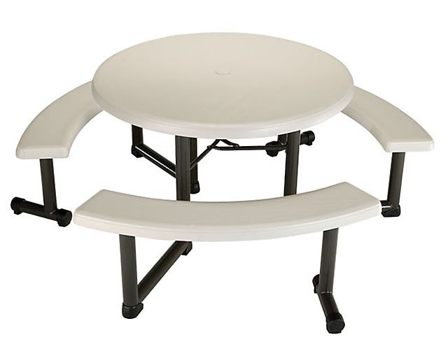44-inch Round Picnic Table in Almond