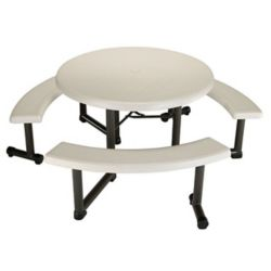 Lifetime 44-inch Round Picnic Table in Almond