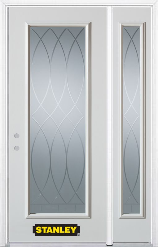 50-inch x 82-inch Bourgogne Full Lite White Steel Entry Door with Sidelite and Brickmould