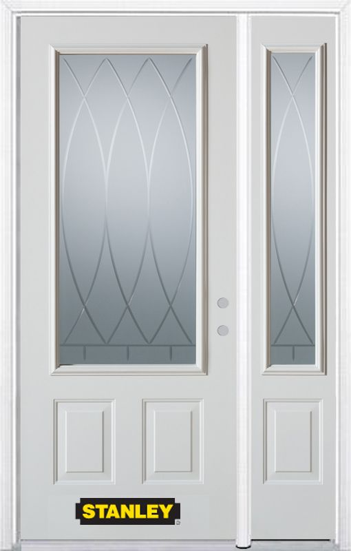 Stanley Doors 48.25 inch x 82.375 inch Bourgogne 3/4 Lite 2-Panel Prefinished White Left-Hand Inswing Steel Prehung Front Door with Sidelite and Brickmould