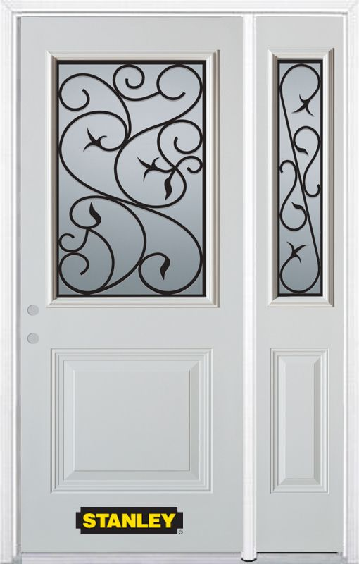 Stanley Doors 48.25 inch x 82.375 inch Borduas 1/2 Lite 1-Panel Prefinished White Right-Hand Inswing Steel Prehung Front Door with Sidelite and Brickmould