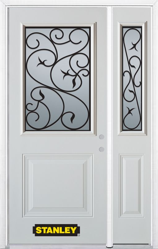 Stanley Doors 48.25 inch x 82.375 inch Borduas 1/2 Lite 1-Panel Prefinished White Left-Hand Inswing Steel Prehung Front Door with Sidelite and Brickmould