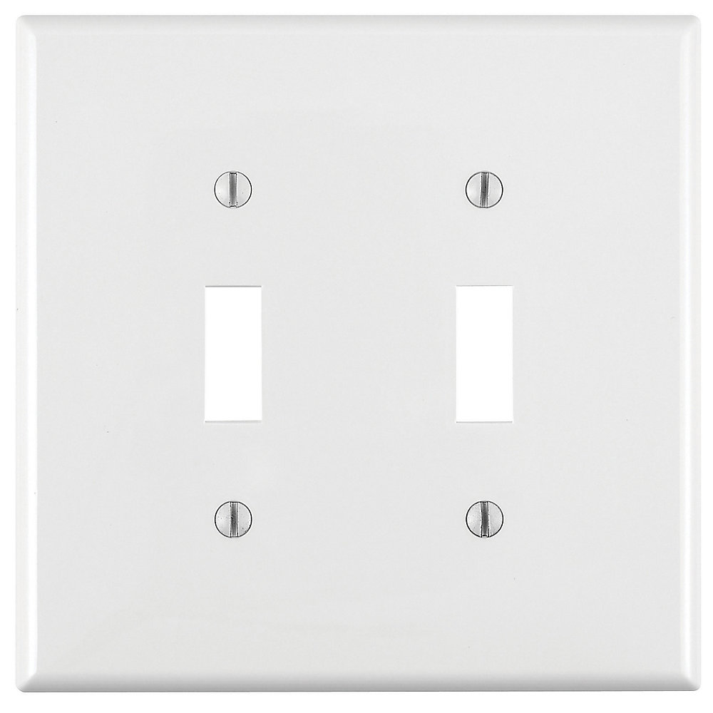 2-Gang Midway Nylon Toggle Switch wall plate, in White