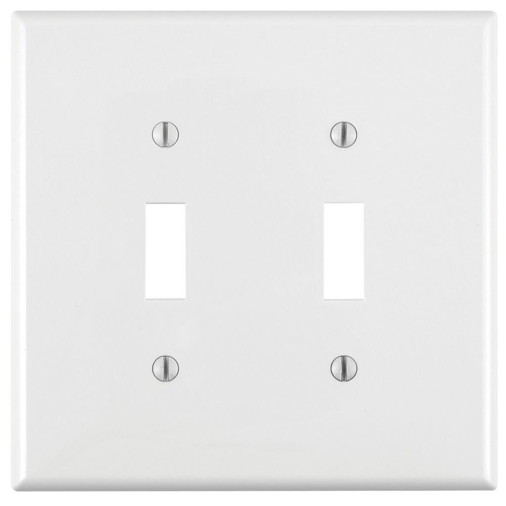 2-Gang Midway Nylon Toggle Switch Wallplate, in White