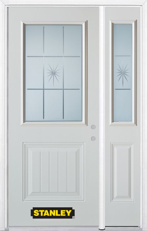 Stanley Doors 52.75 inch x 82.375 inch Beaujolais 1/2 Lite 1-Panel Prefinished White Left-Hand Inswing Steel Prehung Front Door with Sidelite and Brickmould - ENERGY STAR®