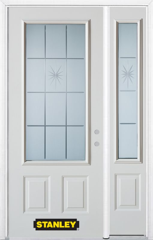 48-inch x 82-inch Beaujolais 3/4-Lite 2-Panel White Steel Entry Door with Sidelite and Brickmould