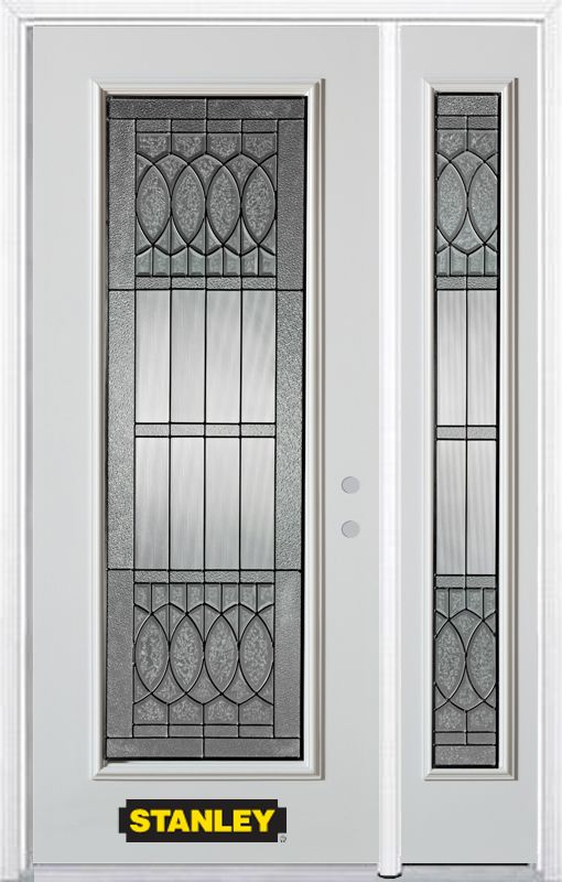 52-inch x 82-inch Nightingale Full Lite White Steel Entry Door with Sidelite and Brickmould