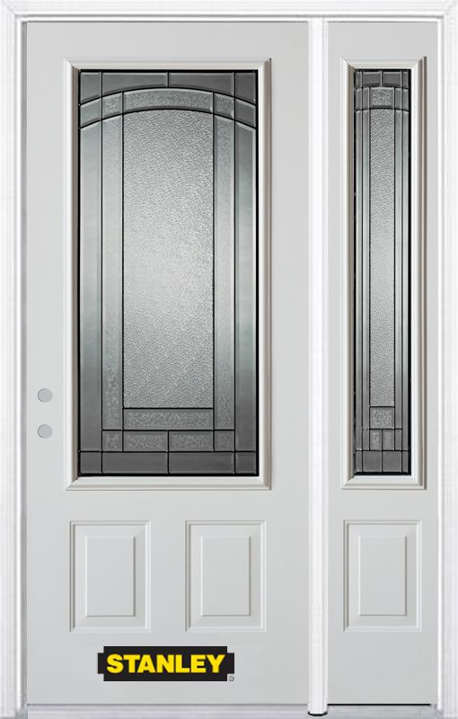 50-inch x 82-inch Chatham 3/4-Lite 2-Panel White Steel Entry Door with Sidelite and Brickmould