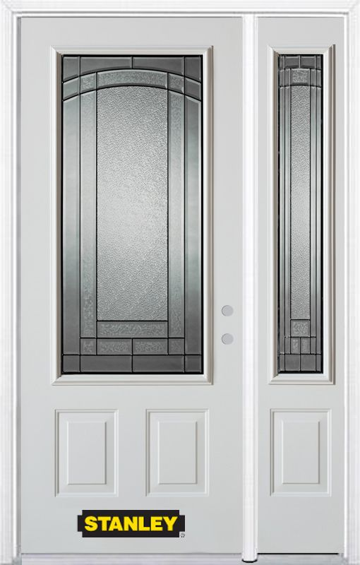 Stanley Doors 48.25 inch x 82.375 inch Chatham Patina 3/4 Lite 2-Panel Prefinished White Left-Hand Inswing Steel Prehung Front Door with Sidelite and Brickmould
