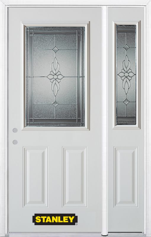 Stanley Doors 52.75 inch x 82.375 inch Victoria Brass 1/2 Lite 2-Panel Prefinished White Right-Hand Inswing Steel Prehung Front Door with Sidelite and Brickmould