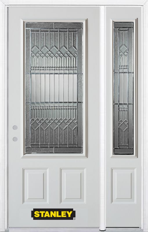 Stanley Doors 52.75 inch x 82.375 inch Lanza Patina 3/4 Lite 2-Panel Prefinished White Right-Hand Inswing Steel Prehung Front Door with Sidelite and Brickmould