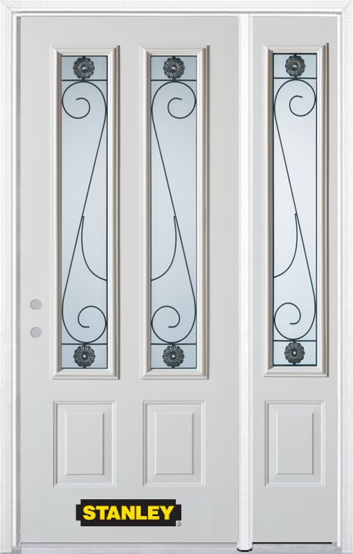 52-inch x 82-inch Blacksmith 2-Lite 2-Panel White Steel Entry Door with Sidelite and Brickmould