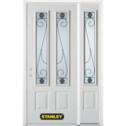 STANLEY Doors 52.75 inch x 82.375 inch Blacksmith 2-Lite 2-Panel Prefinished White Right-Hand Inswing Steel Prehung Front Door with Sidelite and Brickmould