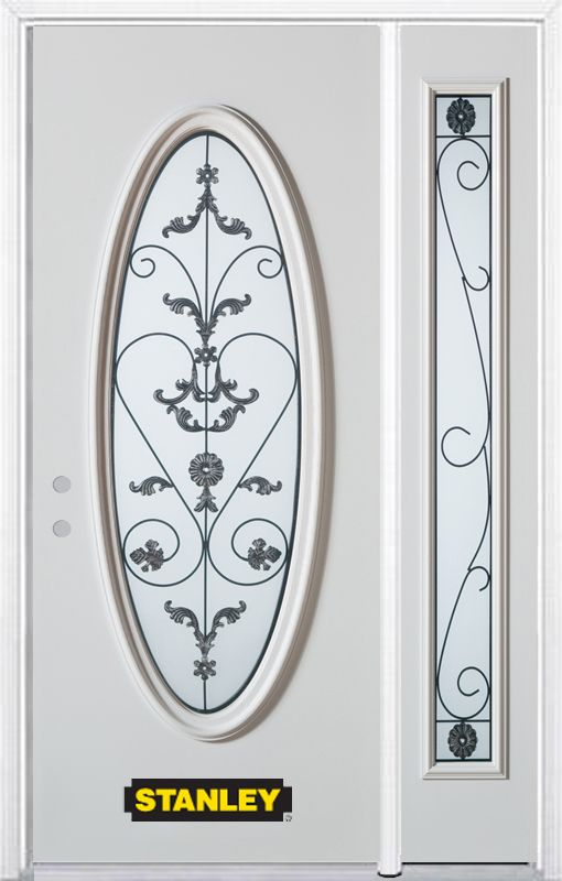 50-inch x 82-inch Blacksmith Full Oval Lite White Steel Entry Door with Sidelite and Brickmould