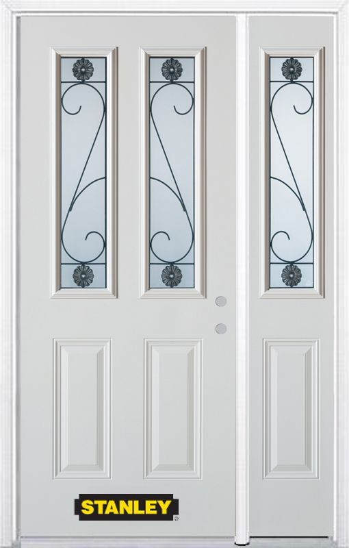 Stanley Doors 48.25 inch x 82.375 inch Blacksmith 2-Lite 2-Panel Prefinished White Left-Hand Inswing Steel Prehung Front Door with Sidelite and Brickmould