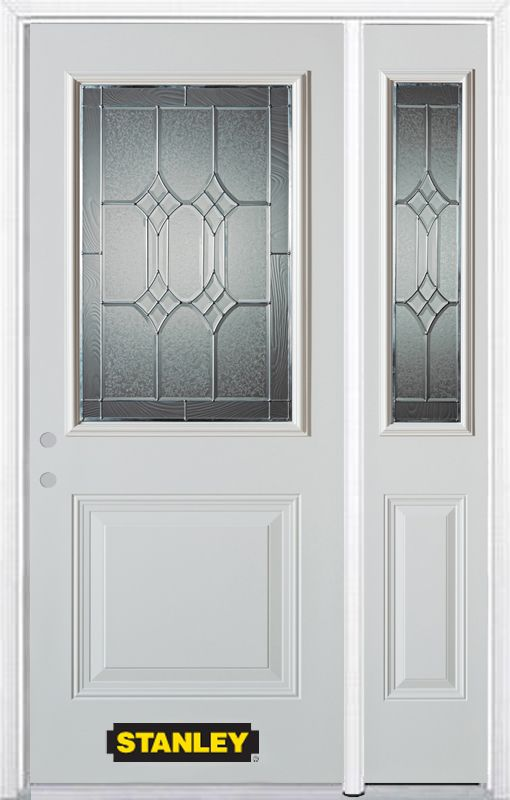 Stanley Doors 52.75 inch x 82.375 inch Orleans Patina 1/2 Lite 2-Panel Prefinished White Right-Hand Inswing Steel Prehung Front Door with Sidelite and Brickmould