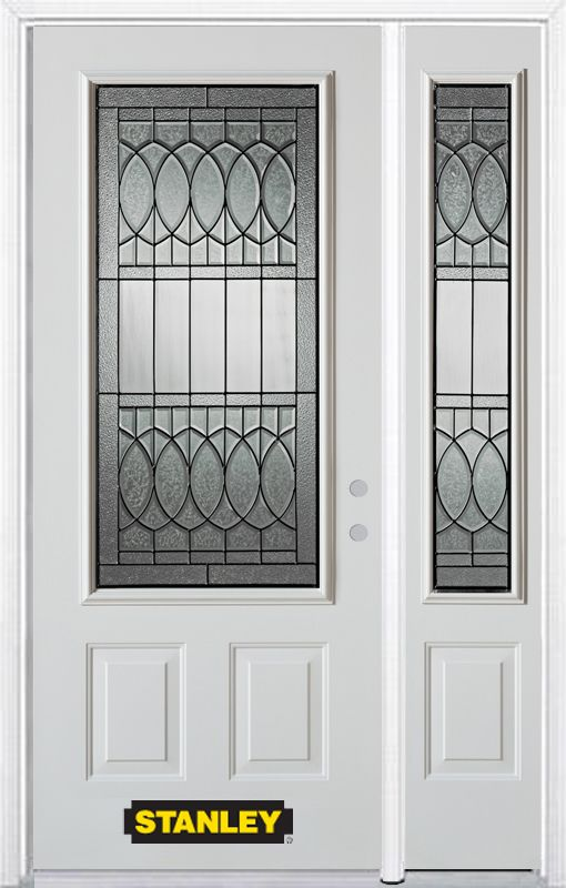 Stanley Doors 48.25 inch x 82.375 inch Nightingale Patina 3/4 Lite 2-Panel Prefinished White Left-Hand Inswing Steel Prehung Front Door with Sidelite and Brickmould