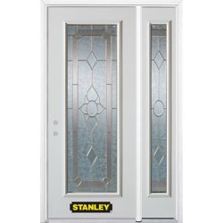 STANLEY Doors 48.25 inch x 82.375 inch Rochelle Brass Full Lite Prefinished White Right-Hand Inswing Steel Prehung Front Door with Sidelite and Brickmould