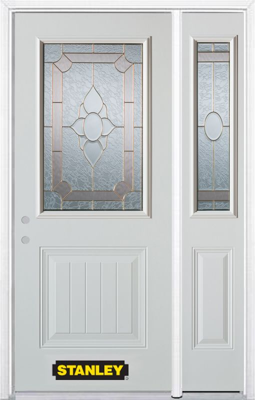 48 In X 82 In 1 2 Lite 1 Panel Pre Finished White Steel Entry Door With Sidelite And