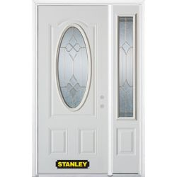 STANLEY Doors 52.75 inch x 82.375 inch Beatrice Brass 3/4 Oval Lite 2-Panel Prefinished White Left-Hand Inswing Steel Prehung Front Door with Sidelite and Brickmould