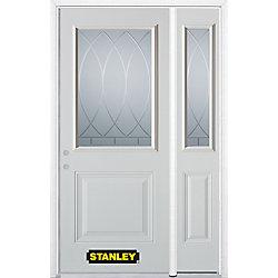 Stanley Doors Porte dentrée en acier préfini en blanc, munie d'un panneau et dun 1/2 verre, 49 po x 82 po avec panneaux latéraux et moulure de brique - ENERGY STAR®