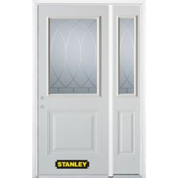 Stanley Doors 48.25 inch x 82.375 inch Bourgogne 1/2 Lite 1-Panel Prefinished White Right-Hand Inswing Steel Prehung Front Door with Sidelite and Brickmould - ENERGY STAR®