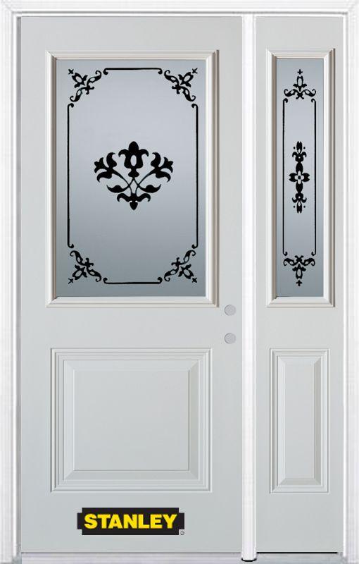 Stanley Doors 52.75 inch x 82.375 inch Renoir 1/2 Lite 1-Panel Prefinished White Left-Hand Inswing Steel Prehung Front Door with Sidelite and Brickmould