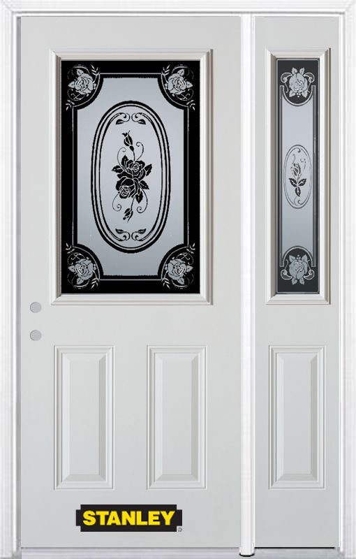 52-inch x 82-inch Mâtisse 1/2-Lite 2-Panel White Steel Entry Door with Sidelite and Brickmould