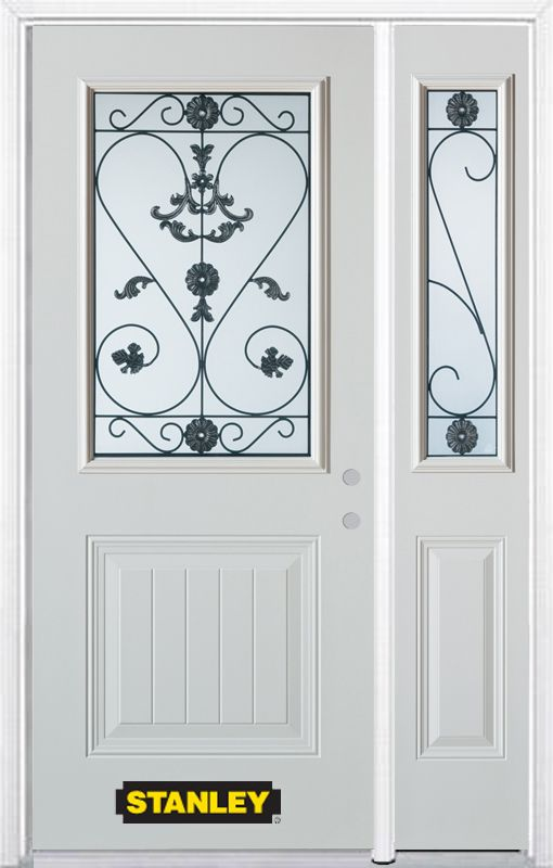 Stanley Doors 48.25 inch x 82.375 inch Blacksmith 1/2 Lite 1-Panel Prefinished White Left-Hand Inswing Steel Prehung Front Door with Sidelite and Brickmould